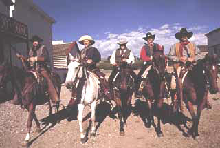 Five mounted on horseback for historical movie film reenactment including horse training